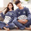 Totoro flanela Conjuntos De Pijama Animal Cosplay Pijamas de inverno Para Os Homens O Pescoço Plus Size Dos Desenhos Animados Set Lounge Ocasional Vestir Vestido 122802