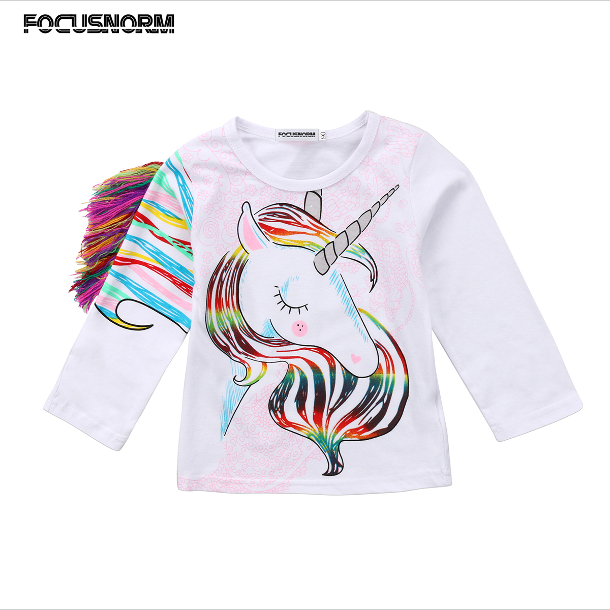 Toddler Kids Girls Autumn Long Sleeve Cartoon Clothes Tops Tassel Unicorn Long Sleeves Sweater Clothes 1-6Y long sleeves layered swing sweater dress