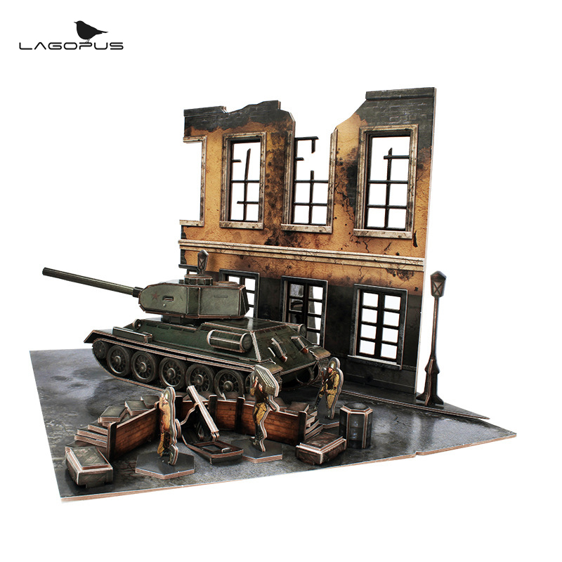 NEW 3D Puzzle Paper 213 PCS SOVIET <font><b>T34</b></font> <font><b>TANK</b></font> DIY for Baby Toys Kids Toys Puzzles for Children Education Learning Tools Toy image