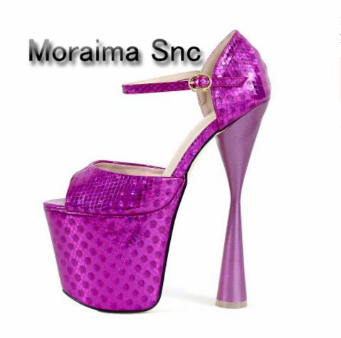 Moraima Snc brand design printing platform pumps women peep toe 20 cm strange style sexy extreme high heels shoes women 2018 baby rompers winter thick climbing clothes newborn boys girls warm jumpsuit 2018 high quality ski suit outwear for infant 0 18 m