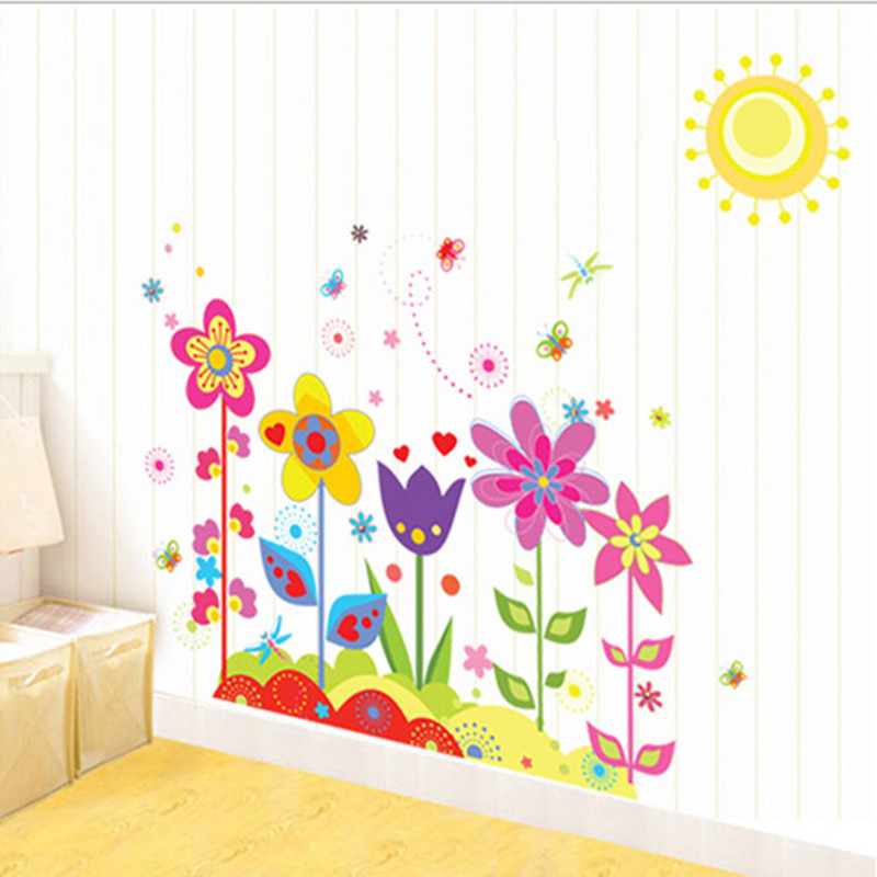 US $4.17 11% OFF|Creative cartoon flowers plants sun wall stickers for kids  rooms pvc removable wall decals children bedroom living room decor-in Wall  ...