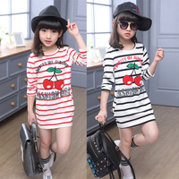 Dziewczyny Wiosna Jesień Haftowane Paskiem Długi Rękaw T Koszula Ubrania Malucha Koszulka Koreański Odzież dla dzieci 10 14 lat Kid