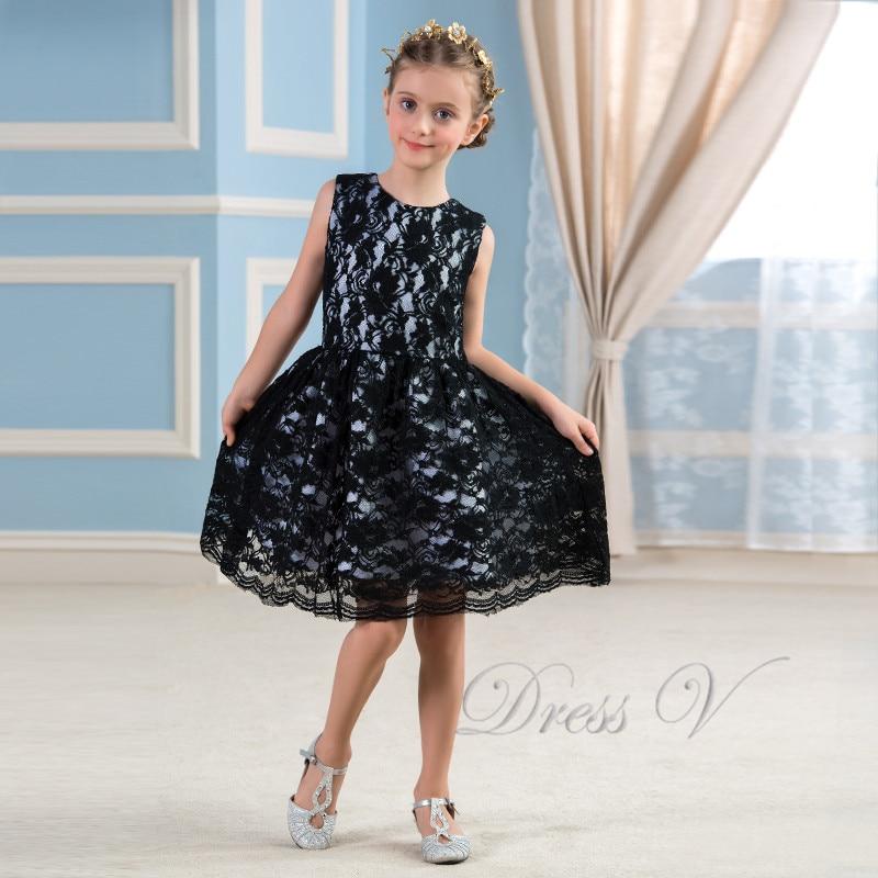 Aliexpress.com : Buy Black Lace Knee Length Flower Girl ...