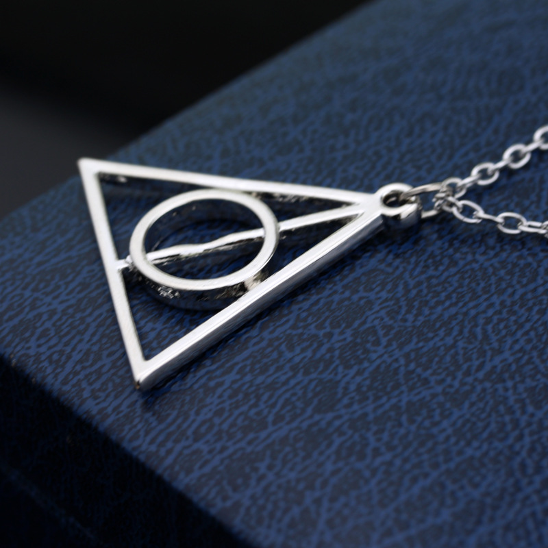 New Hot Action Toy FiguresLuna And The Deathly Hallows Pendant Necklace Retro Triangle Round Sweater Chain Necklace