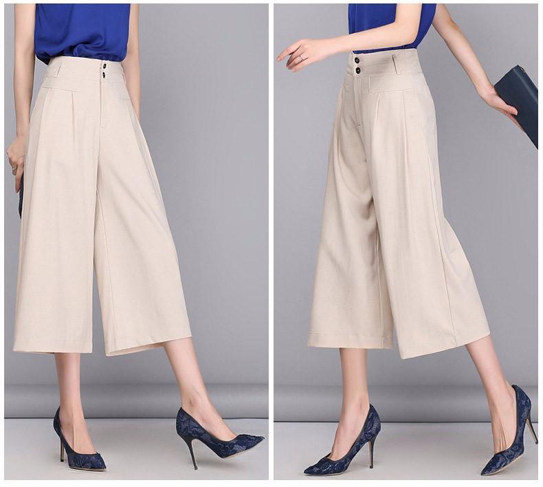 Women OL Wide Leg Pants 2017 Summer Elegant Linen Pants Women Black/White/Beige 3/4 Trousers Pantalon Femme Plus Size S-3XL A318 4