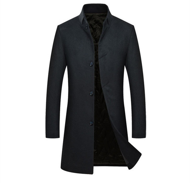 Long Men's Casual Wool Coat...