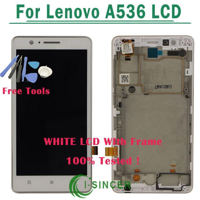 Branco display lcd touch screen digitador assembléia com quadro completo para lenovo a536 + ferramentas frete grátis