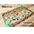 Моделирования Зоопарк 68 шт./компл. содержащий сплошной забор кокосовое тигр динозавров модель игрушки для детей военнослужащих Бесплатная доставка