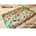 Simulação Zoológico 68 pçs/set contendo cerca de coco sólida tigre modelo de dinossauro brinquedos para as crianças do transporte Livre militar