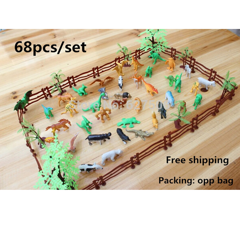 Simulation Zoo 68pcs/set containing solid fence coconut tiger dinosaur model toys for children of military Free shipping