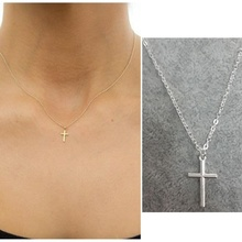 Fashion Simple Infinity Gold Silver Small Cross Necklace Dainty Pendant Chain Necklaces Jewelry Gifts Women Crucifix Christian infinity beaded crucifix pendant layered necklace