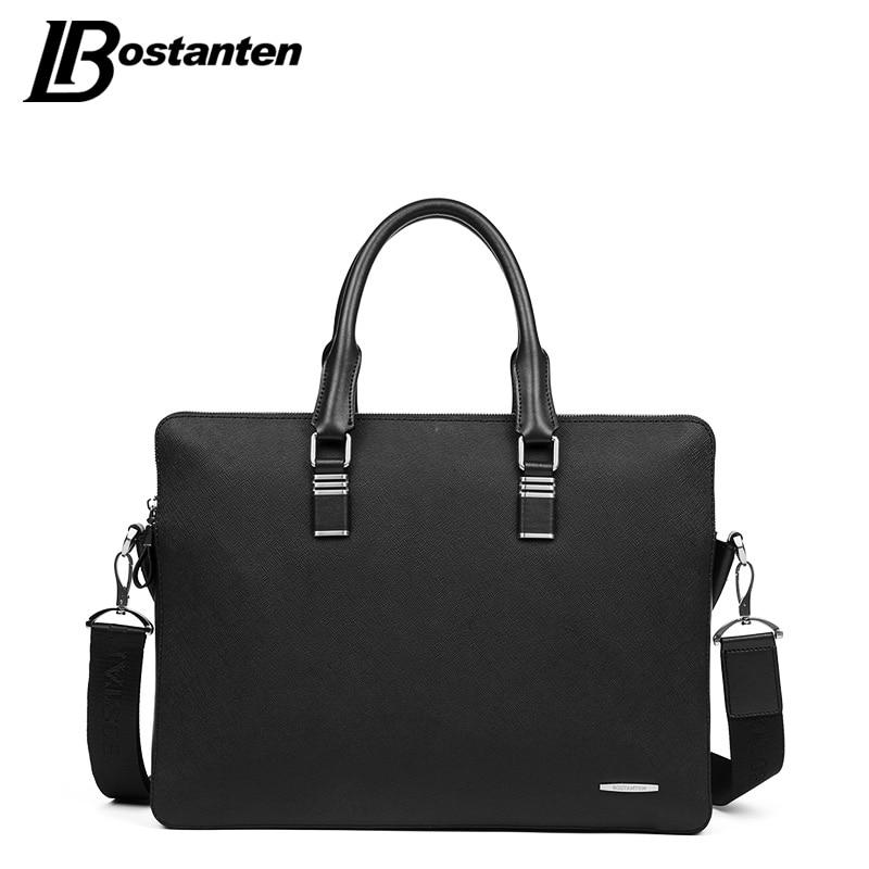 Bostanten 13 Inch Men Briefcase Business Bag Men Genuine Leather Briefcase Laptop Male Shoulder Bag Crossbody Bag Tote Handbag