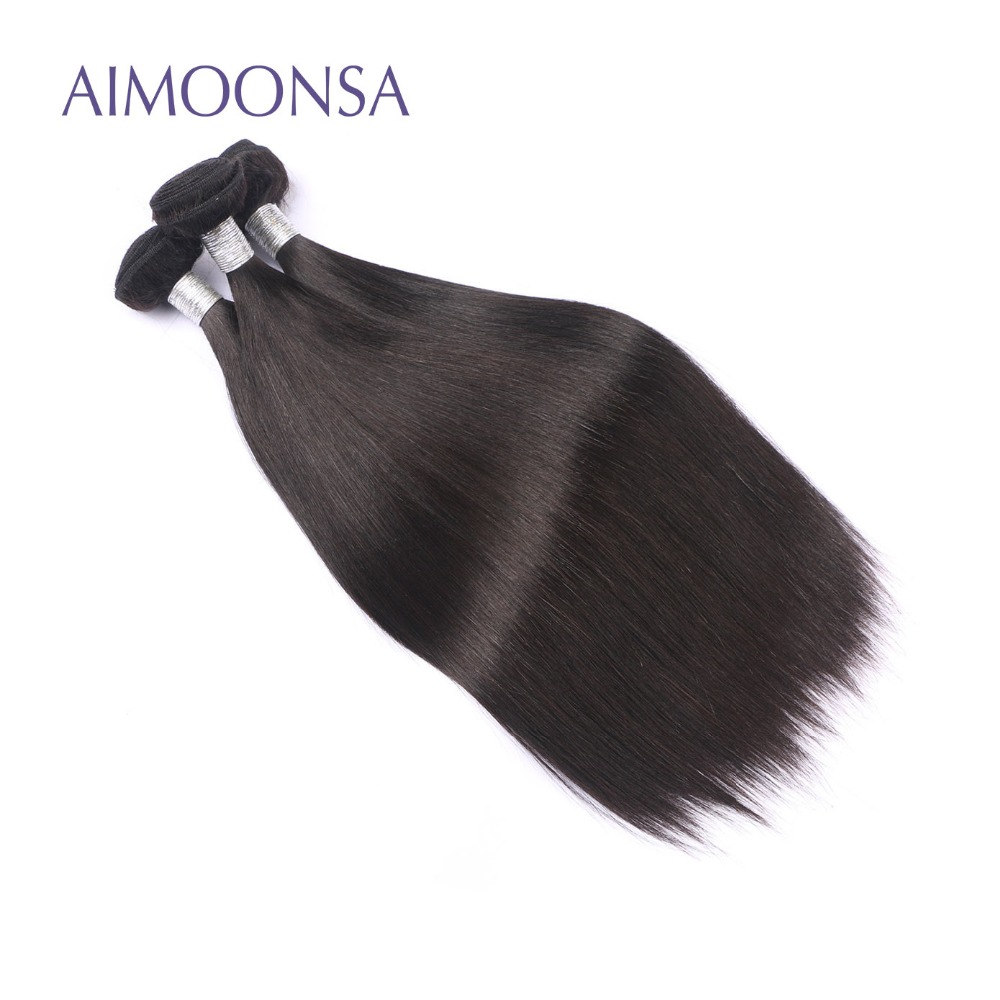 Brazilian Human Hair Weave Bundles Straight Hair Bundles Extensions Double Weft Natural Color Free Shipping AIMOONSA