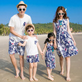 2017 Holiday Family Set Beach Clothing Sleeveless Mother Daughter Dresses Father Son Clothing Sets Family Style Clothes 3XL CY59