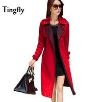 Tingfly 2017 Winter New Slim Suede Jacket Women Fashion Long Length Windbreaker Coat Loose Leisure Women Overcoat