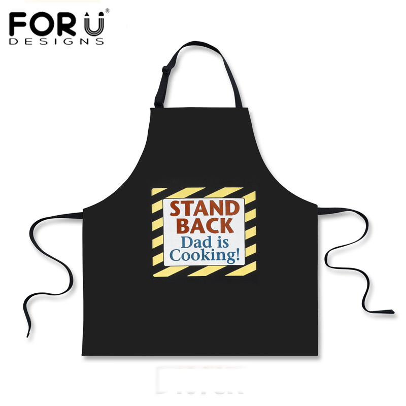 FORUDESIGNS Black Funny Dad Kitchen Cooking Aprons for Men Creative Fathers day Gift Party Apron Men Chef BBQ Work Dinner Apron