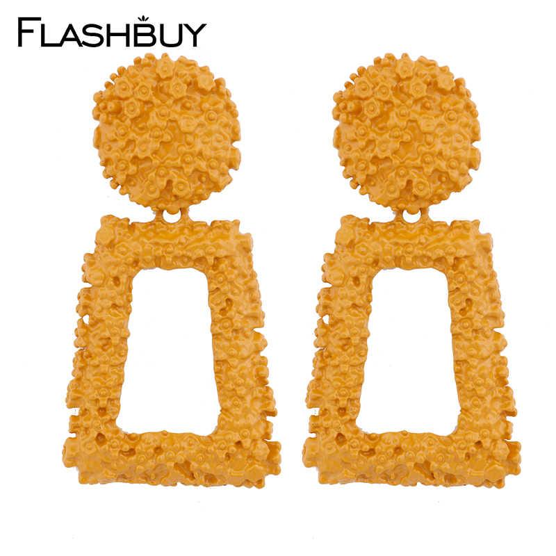 Flashbuy 9 Color Alloy Rectangle Drop Earrings For Women Geometric Statement Big Vintage Earrings Fashion Jewelry Accessories