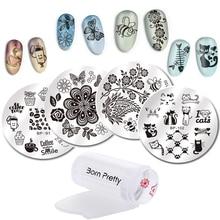 PRETTY Nail Art Stamping Round Cute