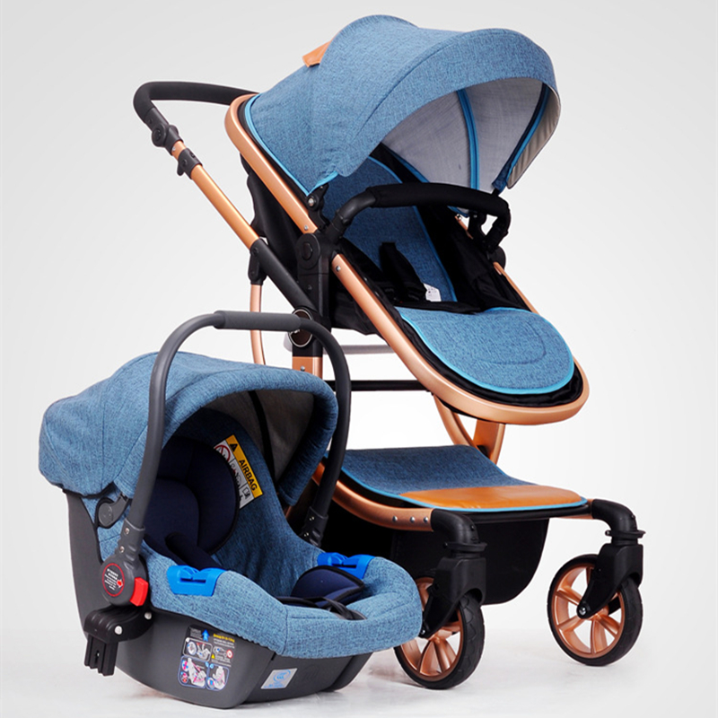 CH BABY High Landscape Stroller Carrier Basket Safety Seat Can Sit Reclining Two-way Baby Cart Triple