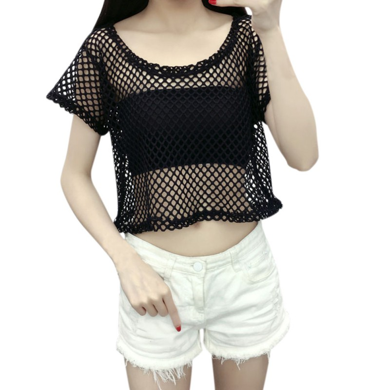 ed61b977794 2017 New fashion crop top Fishnet Shirt Women Short Sleeve mesh Tops  cropped tee See Through T-shirts