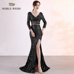Image 5 - prom dresses 2019 sexy long mermaid prom dress vestidos de fiesta largos v neck backless side slit sequin evening gowns