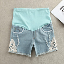 Summer Lace hole Denim Maternity Pant Fesyen Jeans seluar pendek untuk mengandung Elastic Cotton Belly Pants Maternity Cloth Plus size