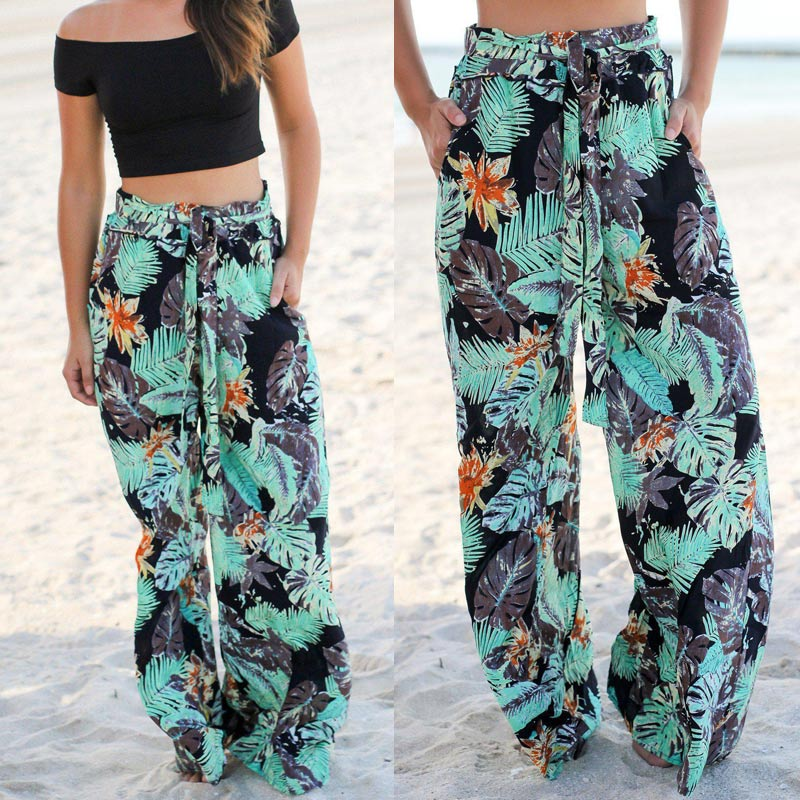Women Floral Print Belted High Waist   Wide     Leg     Pants   with Pockets for Summer Beach H9