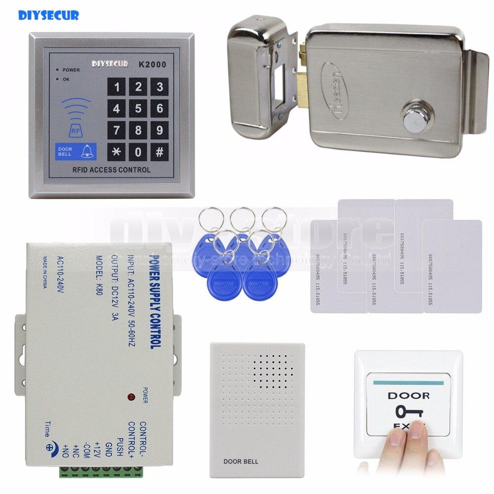 DIYSECUR Rfid 125 KHz ID Lecteur de Carte Clavier de Contrôle D'accès Système Kit Set + Serrure Électronique + Alimentation + Porte cloche