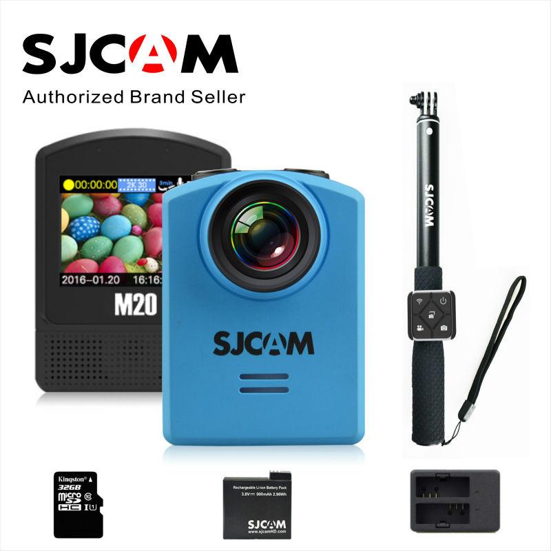 Prix pour Action Caméra SJCAM M20 Gyro 30 M Étanche 4 K 24fps 2 K 30fps NTK96660 16MP Casque Sport DV Bluetooth montre télécommande