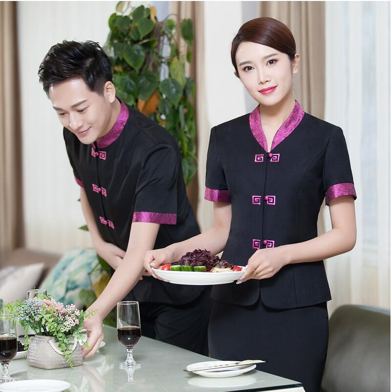 129a4b34833 Cheapest summer Chinese style restaurant uniform for waiter clothes  waitress uniforms hotel work wear short sleeve food service uniform For  Sale at ...