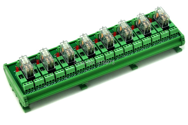 DIN Rail Mount Fused 8 DPDT 5A Power Relay Interface Module, G2R-2 24V DC Relay.