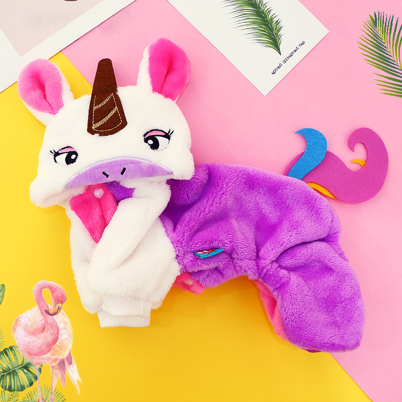 Halloween Winter Small Pet Cat Dog Costume Unicorn Warm Chihuahua Puppy Jumpsuit Clothing Adorable Holiday Cosplay Gift