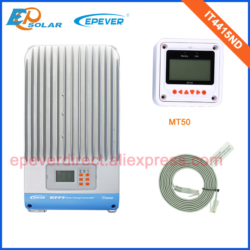 mppt EPsolar lcd display solar charging regulators +white MT50 remote meter IT4415ND 45A 45amp 48v 36v 20a 12 24v solar regulator with remote meter for duo battery charging