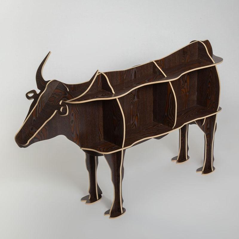 Cattle cabinet home furniture creative display wine holder - Walnut and black gloss living room furniture ...