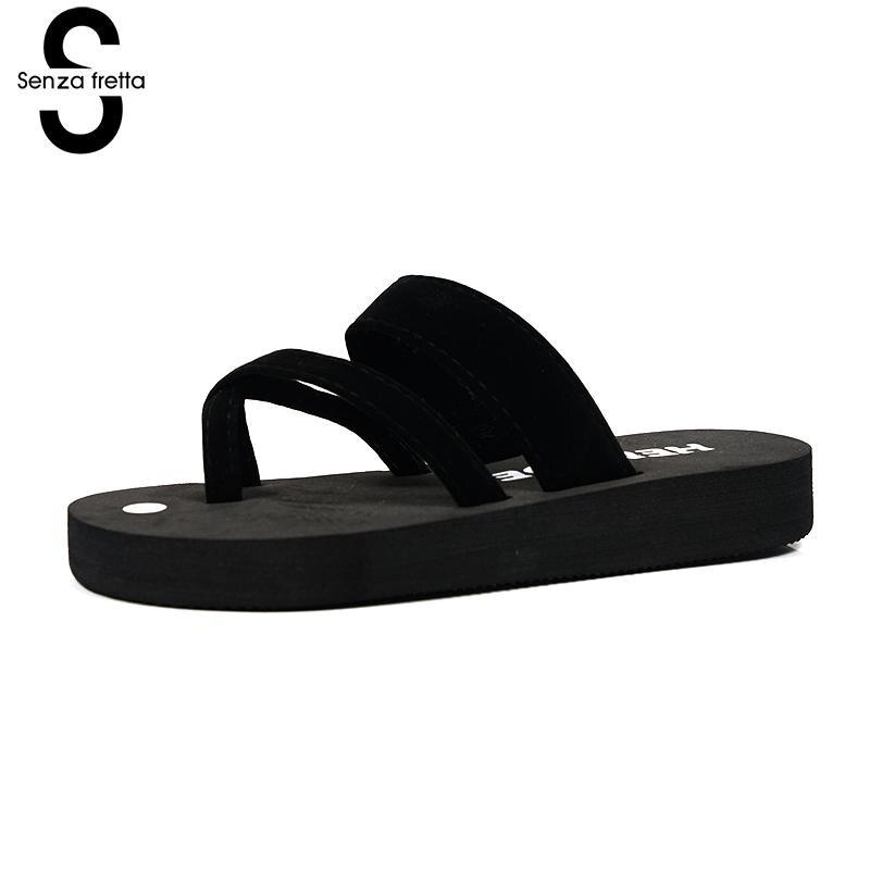 Senza Fretta Women Shoes Flip Flops Beach Slippers Sandals Summer Fashion Slippers Women Flip Flops Shoes Woman Mid Heel Sandals