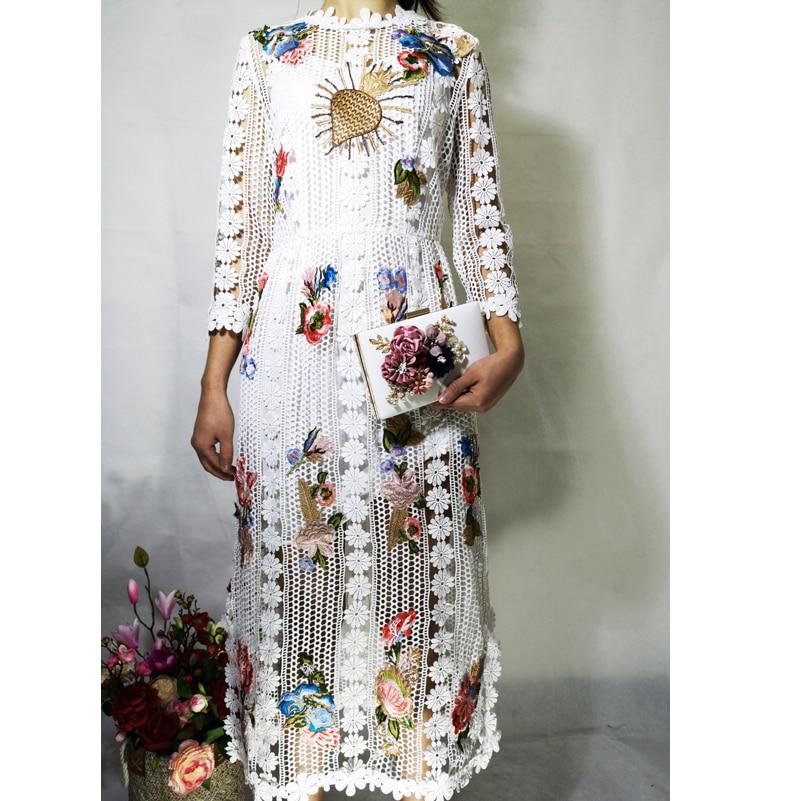 Haute qualité créateur robe de piste femmes 3/4 manches fleur Applique de luxe brodé dentelle haute rue mode mi mollet robe - 1