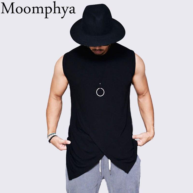 Camiseta sin mangas de Moomphya para hombre, camiseta con dobladillo cruzado, camiseta para hombre, ropa de calle, camiseta de hip hop, camisetas de verano para hombre