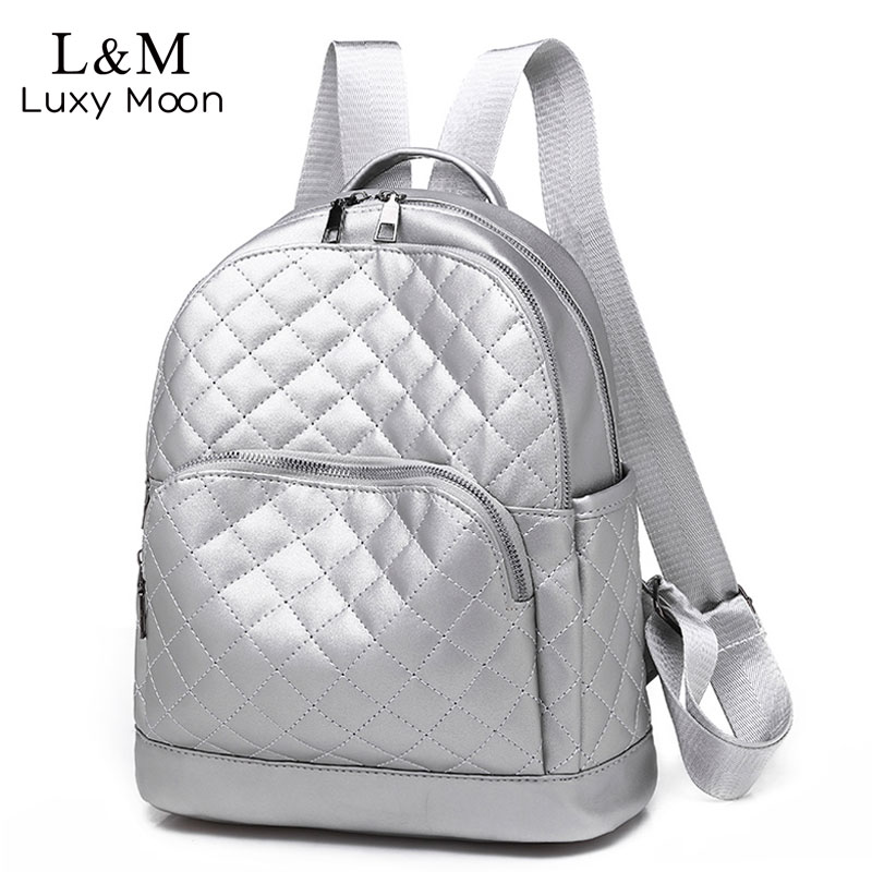Large Women's Backpack PU Leather Diamond Lattice Zipper School Backpacks For Teenage Girls Silver Travel Bag Mochila Hot XA312H