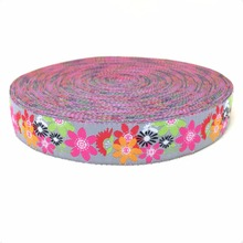 New 2014 lace 5/8' 16mm 10yard/set 100% polyester computer jacquard ribbon colour flower