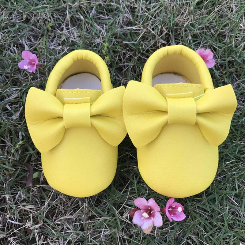 Cute Kids Walking Sneakers Girls Leather Shoes Bow Knot Soft Sole Crib Shoes Children Outdoor Sports Sneakers