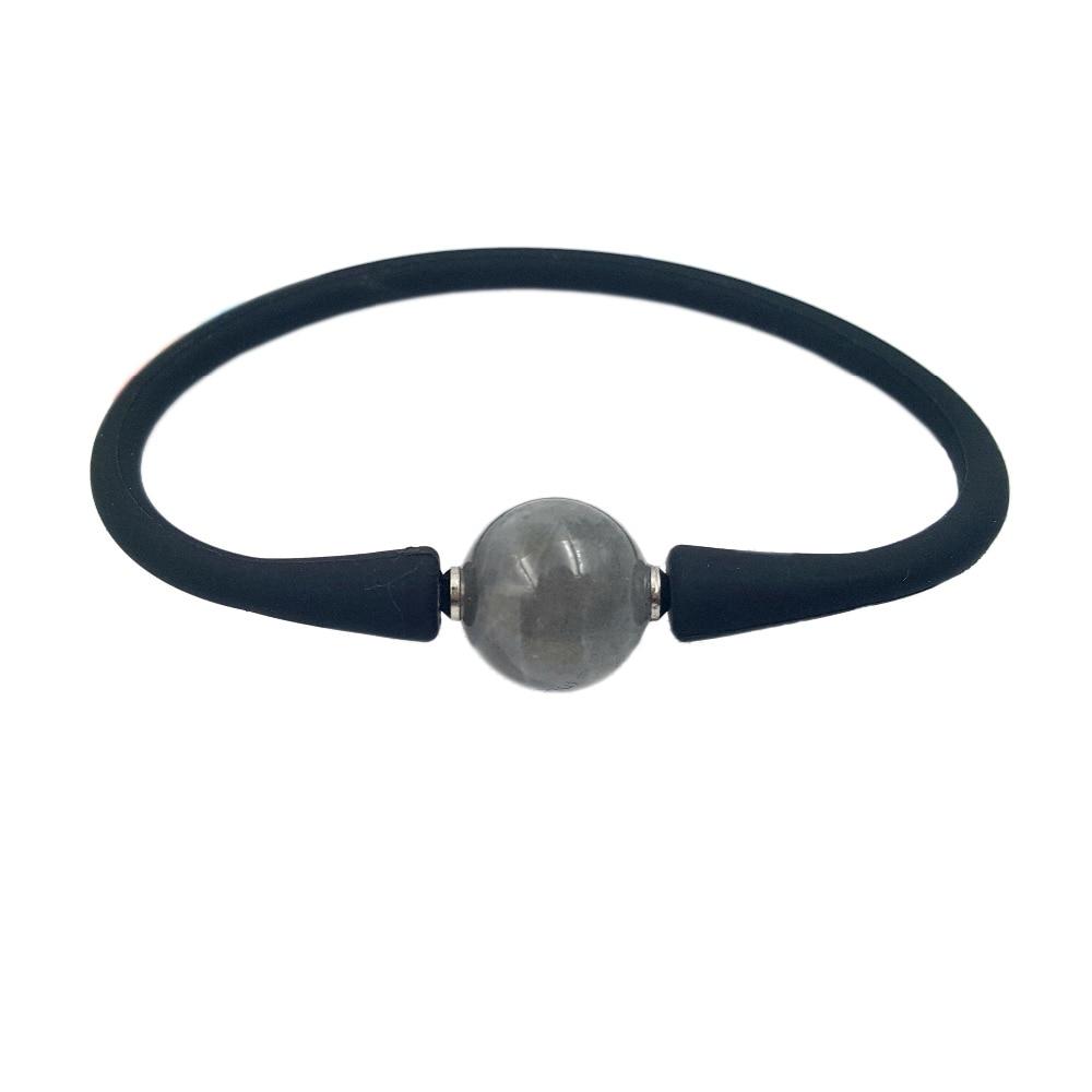 Natrual Stone Rainbow Labradorite 14mm Rubber Bracelet 8