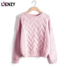 O тянуть вязать пуловеры плед зимой femme мягкой свободные свитер розовый