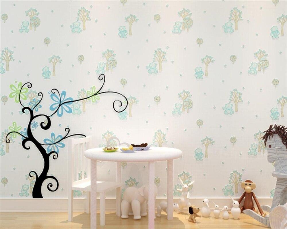 Beibehang 3D Cartoon Bear 3D Wallpaper Pastoral Bedroom Kids Room 3D Living Room Wallpaper Light Yellow Light Blue Wallpaper beibehang cartoon children s room bear bear non woven wallpaper 3d 3d boy girl bedroom background wall bronzing wallpaper