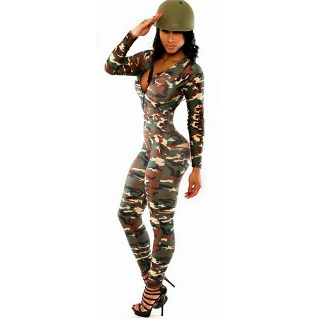 Camouflage Jumpsuit Romper Fitness Slim Bodysuit Women Romper Be Stretchy Bodysuit Overalls Big Size Rompers Womens Jumpsuit