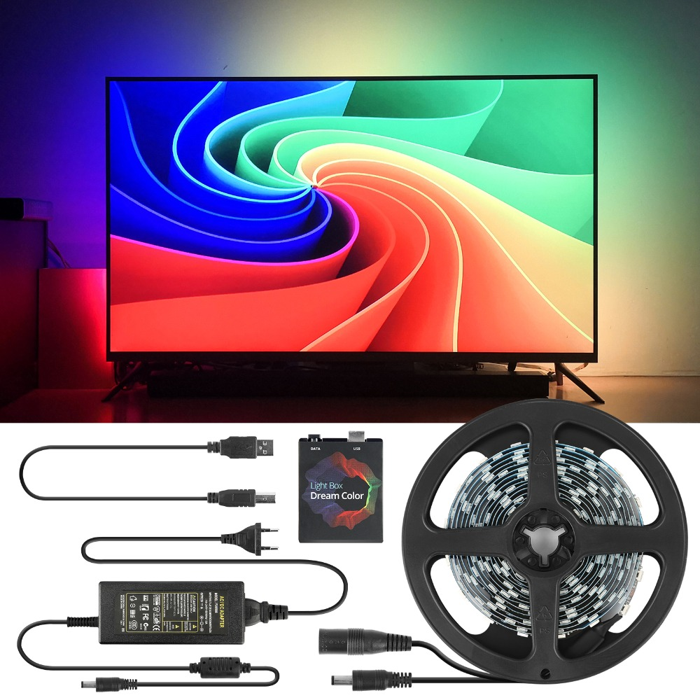 1 2 3 4 5m Ambilight TV PC Backlight Dream Screen HDTV Computer Monitor USB LED Strip Addressable WS2812B LED Strip Full Set