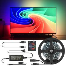 1/2/3/4/5 M Ambilight TV PC Lampu Latar Mimpi HDTV Layar Monitor Komputer USB LED Strip Addressable WS2812B LED Strip Full Set(China)