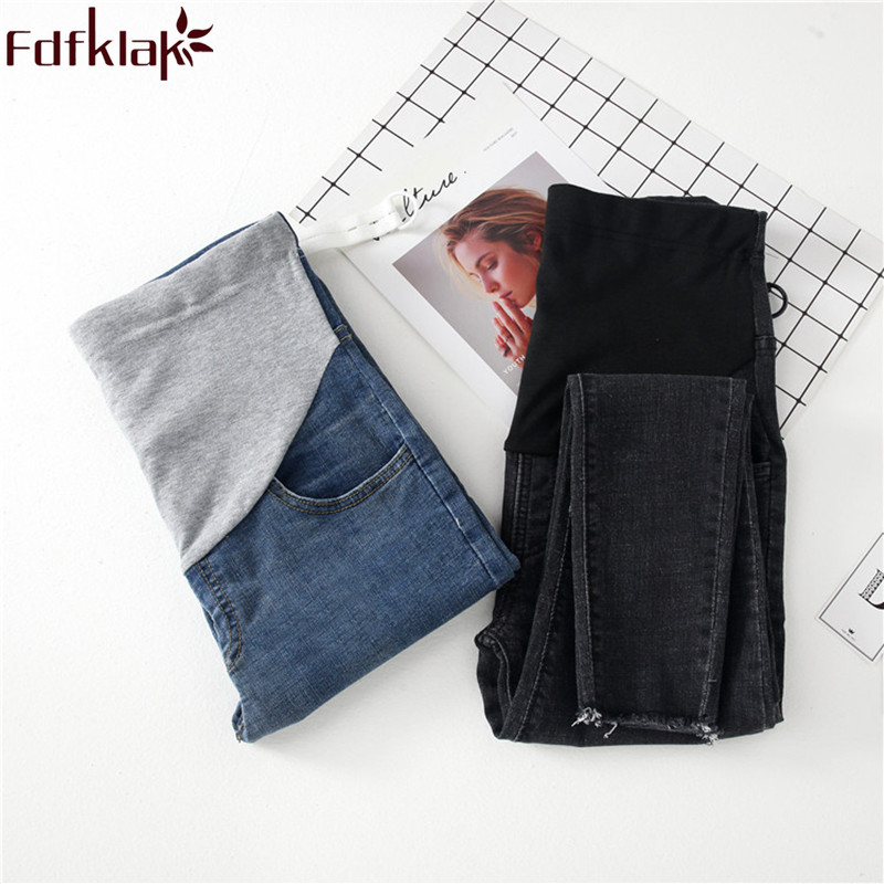 Fdfklak Denim Maternity Jeans 2018 Spring Autumn Pregnancy Trousers Clothes For Pregnant Women Black/Blue Maternity Jeans F262 ...