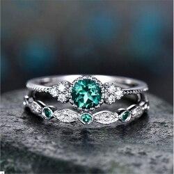 Bague en Zircon émeraude argent 925 pour femmes couleur verte jade bijoux en pierres précieuses Anillos bague péridot Bizuteria Diamante