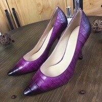 2018 Новая мода 100% из натуральной крокодиловой кожи живота леди высокий каблук туфли лодочки для женщин фиолетовый желтый черный