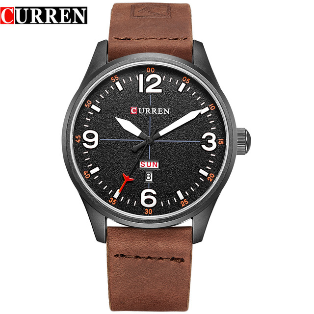 NEW 2017 Curren Men's Sports Quartz Watches Mens Watches Top Brand Luxury Leather date week Wristwatches Relogio Masculino 8265 relogio masculino original curren wristwatches mens watches top brand luxury silicone sports watches military army waterproof